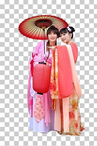 Oil-paper Umbrella Woman Costume PNG