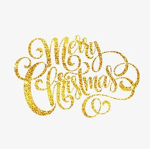 Golden Merry Christmas PNG