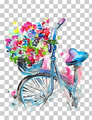 Watercolor Drawing Bicycle PNG