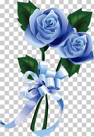 Flower Borders And Frames Nosegay Blue Rose PNG