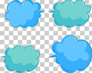 Bubble Dialog Box Cloud Blue PNG