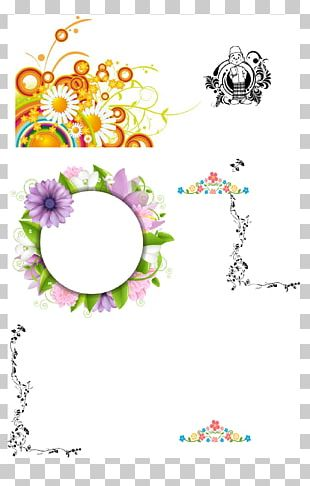 Flower Japanese Border Designs CD-ROM And Book PNG