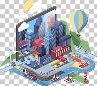 Isometric Projection City Illustration PNG