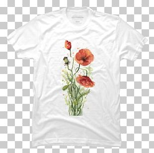 Poppy Watercolor Painting Floral Design Flower T-shirt PNG