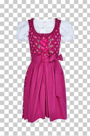 Polka Dot Sleeve Pink M Dress PNG