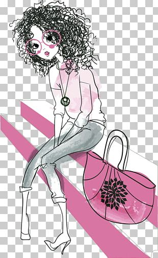 Girl Drawing Hipster Illustration PNG