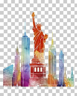 New York City Poster Watercolor Painting Illustration PNG