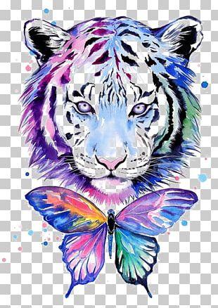 Tiger Tiger T-shirt Watercolor Painting Drawing PNG