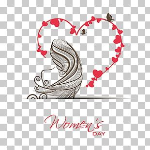International Womens Day March 8 Valentines Day Greeting Card Illustration PNG
