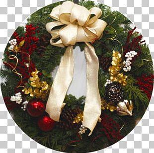 Christmas Ornament Cut Flowers Wreath PNG
