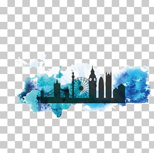 City Of London Silhouette Watercolor Painting PNG
