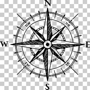 North Compass Rose Drawing PNG