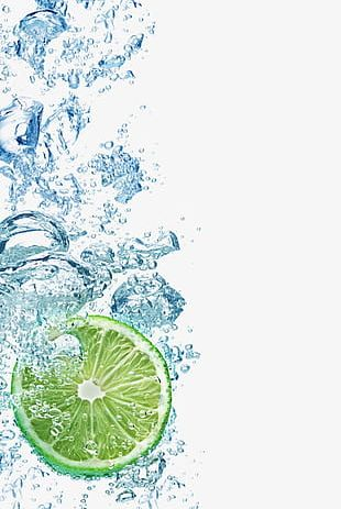 Fall Into The Water With Lemon And Ice Cubes PNG