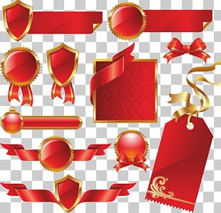 Paper Red Ribbon Label PNG