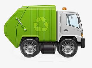 Green And Environmentally Friendly Garbage Truck PNG