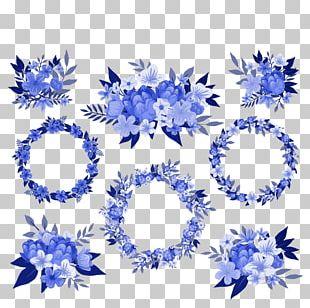 Blue Wreath Cut Flowers Floral Design PNG