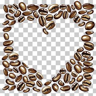 Heart-shaped Peach Shade Coffee Beans PNG