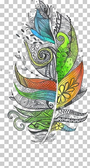 Zentangle The Enchanted Forest Feather Doodle Drawing PNG