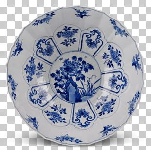 Plate Blue And White Pottery Ceramic Cobalt Blue Platter PNG