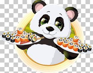 Giant Panda Sushi Japanese Cuisine Illustration PNG