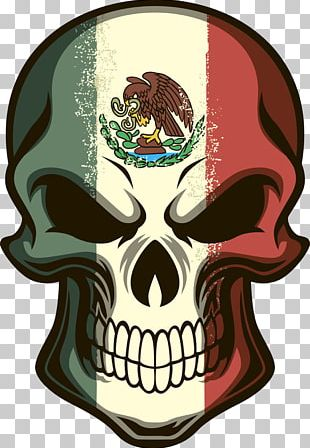 Flag Of Mexico Calavera Skull Decal PNG