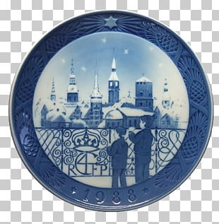 Plate Vorhelm Royal Copenhagen Blue And White Pottery Ceramic PNG