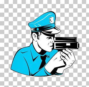 Police Officer Traffic Enforcement Camera Cartoon PNG