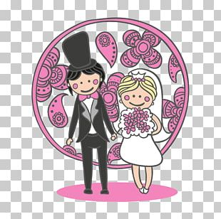 Cartoon Bride And Groom Illustration PNG