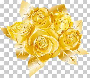 Garden Roses Gold PNG