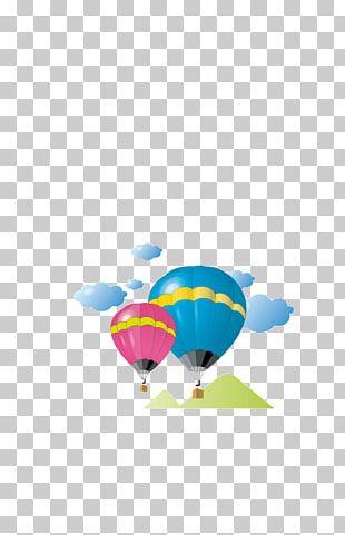 Childlike Cartoon Hot Air Balloon Decorative Figure PNG