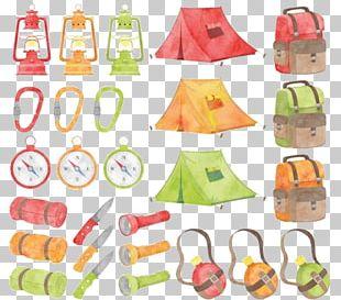 Camping Watercolor Painting Campfire PNG