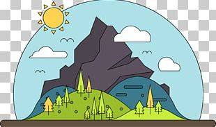 Cartoon Mountain Landscape PNG