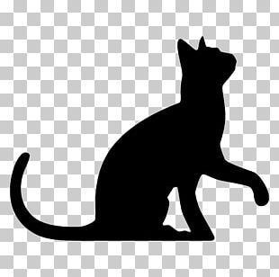 Black Cat Silhouette Wedding Cake Topper PNG