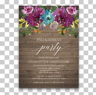 Wedding Invitation Flower Purple Floral Design Engagement PNG