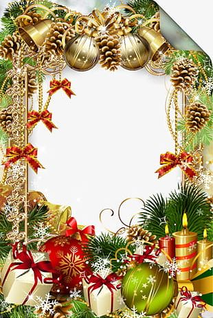 Christmas Pine Cones Frame PNG