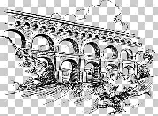 Pont Du Gard Ancient Rome Roman Aqueduct Drawing PNG