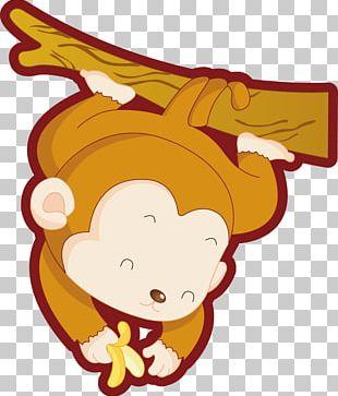 Monkey Cartoon Illustration PNG