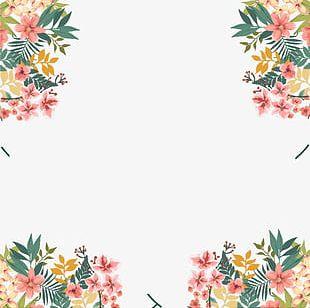 Watercolor Floral Border Decoration PNG