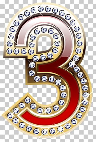 Gold And Red Number Three PNG