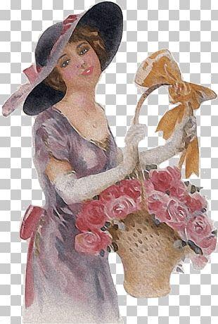 Woman Holding Flower Basket Vintage PNG