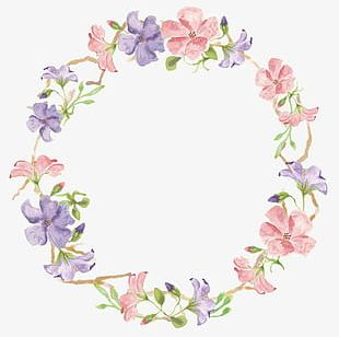 Small Hand-painted Flowers Fresh Garland PNG