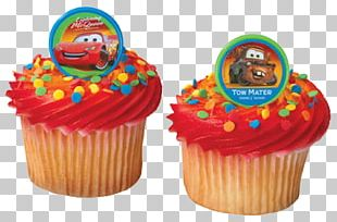 Lightning McQueen Mater Cupcake Birthday Cake Frosting & Icing PNG
