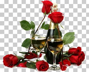 Red Wine Champagne Flower Rose PNG