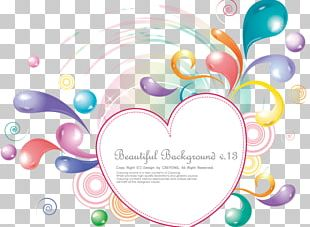 Colorful Abstract Holiday Heart-shaped Frame PNG