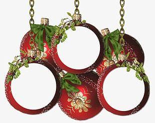 Creative Christmas Ball Decorative Frame PNG