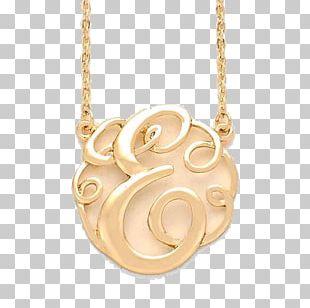 Locket Necklace Monogram Gold Jewellery PNG