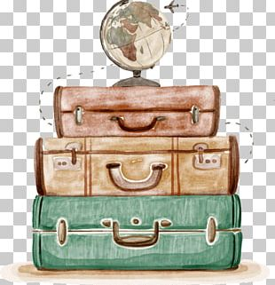 Suitcase Baggage Travel Watercolor Painting Drawing PNG