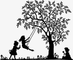 Black And White Tree Swing Kids PNG