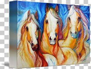 Watercolor Painting Horse Canvas Print Art PNG