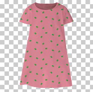 Polka Dot Pink M Sleeve Dress Neck PNG